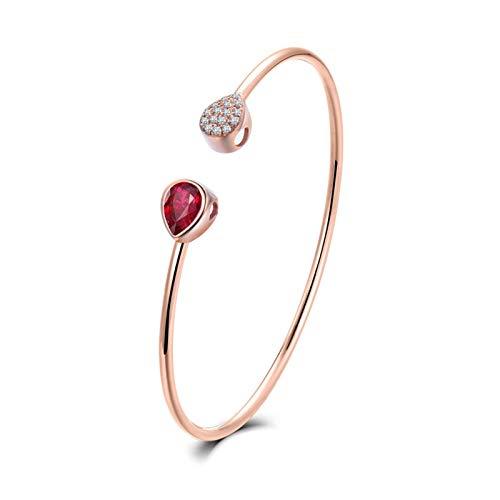 AnazoZ Pulsera Rubí Mujer,Pulsera Oro Rosa Mujer 18 Kilates Oro Rosa y Rojo Gota de Agua Rubí Rojo 0.875ct Diamante 0.06ct
