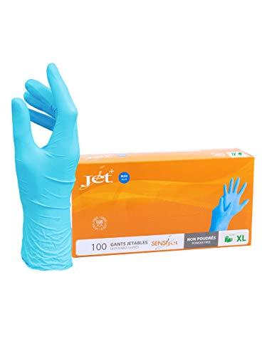 Jet + Guantes de vinilo multiusos, sin polvo, desechables, extra fuertes - Caja de 100 - Talla M
