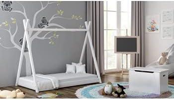 Childrens Beds Home Cama Individual con Dosel de Madera Maciza - Estilo Titus Tepee para niños Niños Niño pequeño - Sin colchón Incluido (140x70, ...