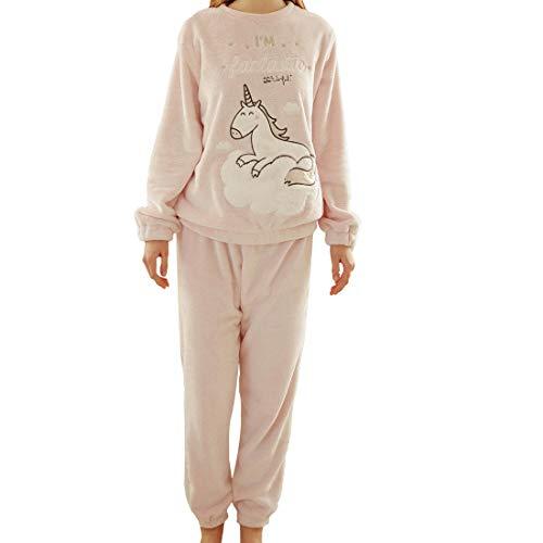 GWELL Damen 2-teilige Schlafanzüge Einhorn Flannel Langarm Nachthemd Baumwolle Pyjama Winter Sleepwear Set Pink L