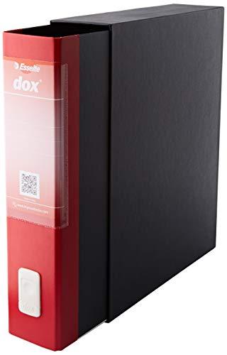 Leitz D26211 - Archivador de Palanca DOX con Caja Folio (28,5X35 cm) Color Negro, Rojo