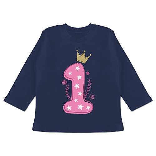 Shirtracer Geburtstag Baby - 1. Geburtstag Mädchen Krone Sterne - 6/12 Monate - Navy Blau - Langarmshirt 1. Geburtstag - BZ11 - Baby T-Shirt Langarm