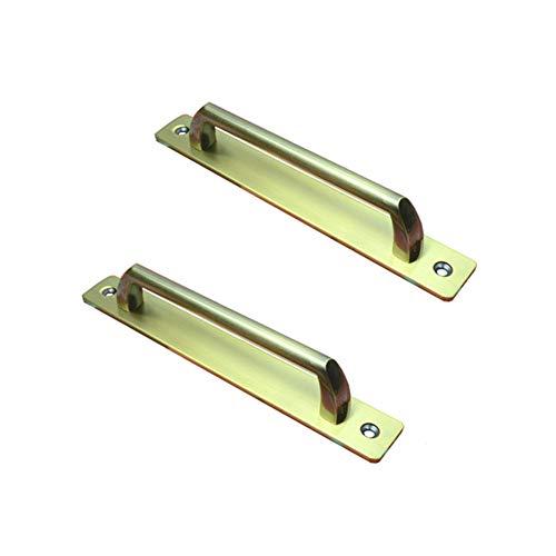 2Pcs Sliding Door Handle, Aluminum Alloy Barn Pull Push Door Handles with Back Plate, Gate Handle Toilet Door Pull Plate Wooden Cabinet Cupboard Handle Hardware(Brushed Steel/Bronze)