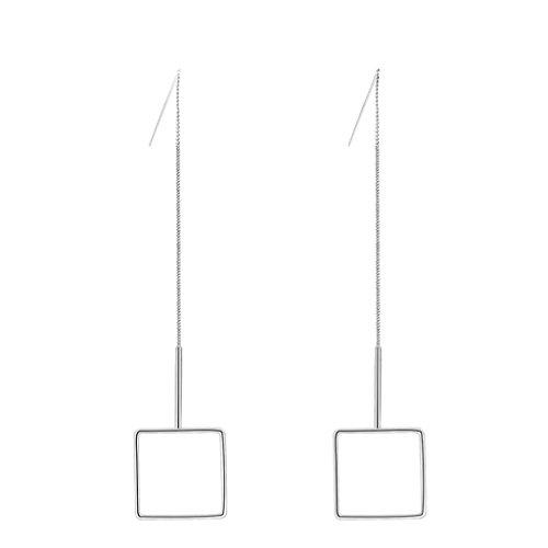 Epinki Versilbert Damen Ohrringe Ohrstecker Hohl Quadrat Threader Weiß Gold 2x11 CM