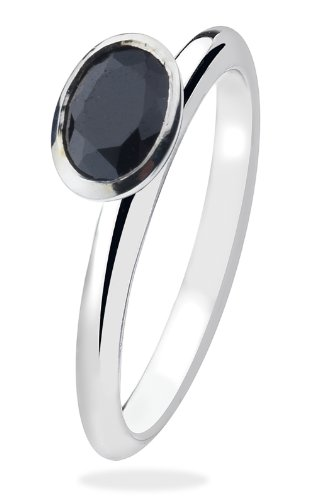 Virtue Silver StackableVRS3021 Black Oval Faceted Cubic Zirconia Virtue Ring - Size P
