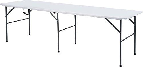 EazyGoods 8 Foot Folding Plastic Trestle Table, White, 240 x 75 x 74 cm