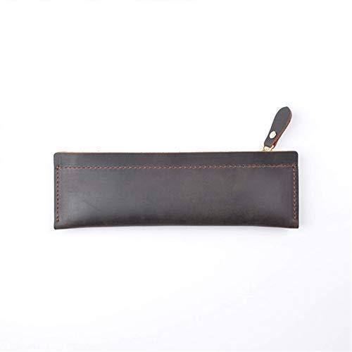 YLLAND Caja de lápiz de Cuero Genuino - Caja de Pluma con Cremallera Bolsa de papelería Bolsa de lápices de la Bolsa de lápices Simple (Color: Azul, Tamaño: 190mmx60mm) LNNDE