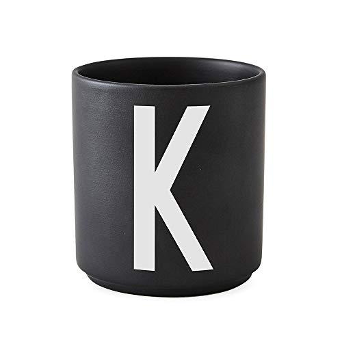 Design Letters Tasse en porcelaine personnelle A-Z (NOIR) - K