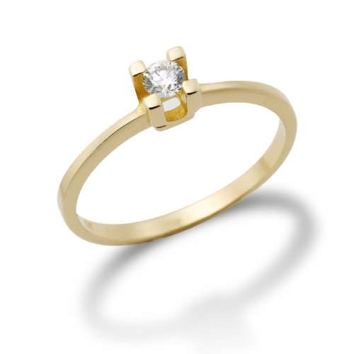 Miore MA70RYO - Anillo de mujer de oro amarillo (14k) con 1 diamante (talla: 14)