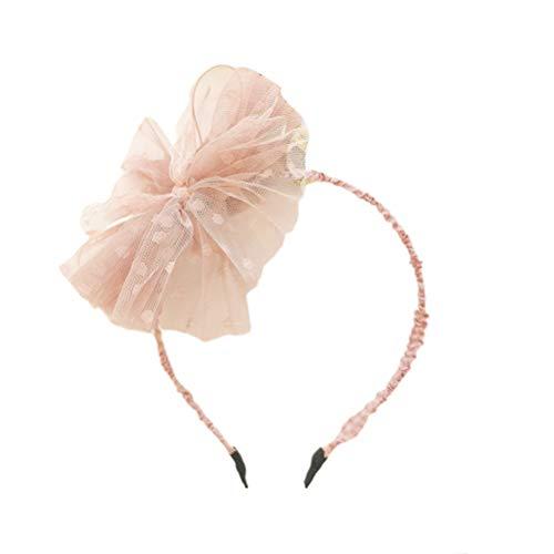 Lurrose Arc en Maille Bandeau Grande Fleur Fascinators Bandeau Vintage Bowknot Cerceau de Cheveux pour Les Filles (Rose)