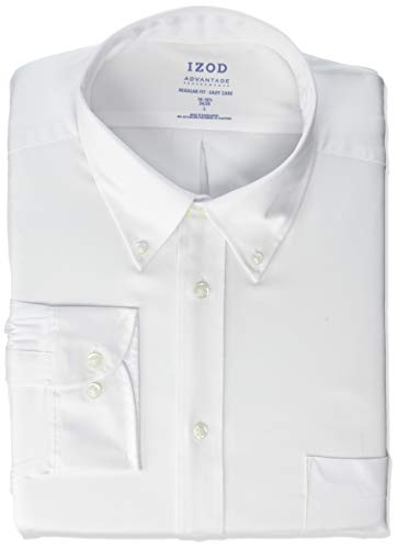 IZOD mens Regular Fit Stretch Cool Fx Cooling Collar Solid Dress Shirt, New White, 17 -17.5 Neck 32 -33 Sleeve X-Large US