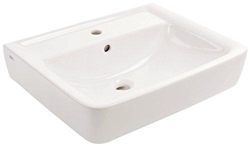 Keramag Waschtisch Renova Plan, 222260, eckiges Waschbecken mit Beckenrand & Ablagefläche, 60 x 48 cm, Weiß, 03849 2