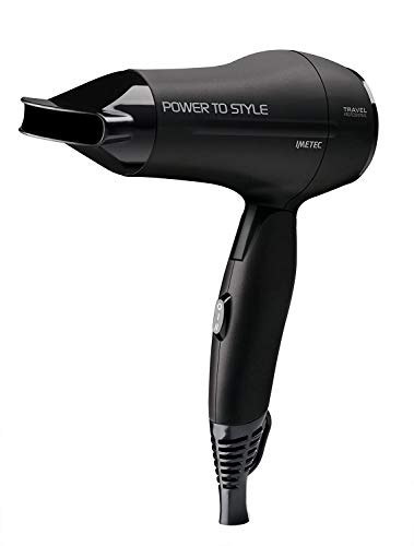 Imetec Power to Style Travel CT1 2000 - Secador de pelo de viaje, 1400W, doble voltaje, mango plegable, botón de ajuste de aire y temperatura, boquilla orientable, funda de viaje incluida