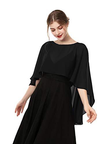 Hotshawl Women Chiffon Cape Bridal Soft Chiffon Scarve Shawls Wraps, Black, Size One Size