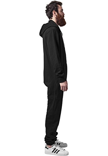 Urban Classics Herren Strampelanzug Sweat Jumpsuit, Black White - 2