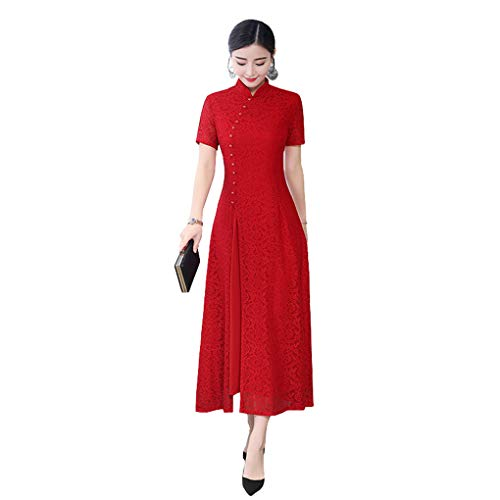 Shanghai Story Long Cheongam Dress Lace Qipao Chinese Style Dress 3XL Red