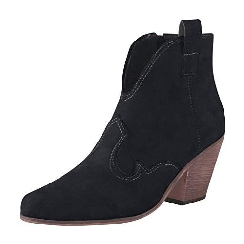 JKRTR Botas de tacón grueso para mujer, estilo bohemio, con tacón bajo, Negro , 35 EU