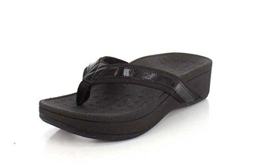Vionic Women's Pacific High Tide Toepost Sandals – Ladies Platform Flip Flops with Orthotic Arch Support Black 11 Medium US