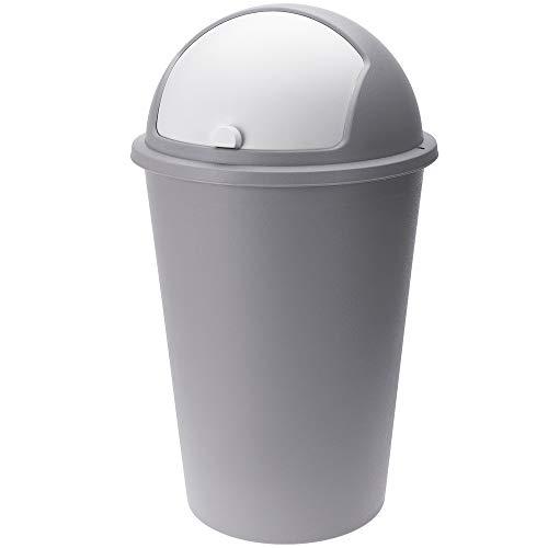 Deuba Mülleimer 50 L Grau Abfalleimer mit Schiebedeckel Abnehmbar Müllbehälter Kunststoff Abwaschbar Küche Büro Robust