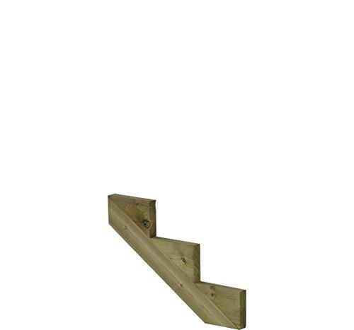 Treppenwange für 3 Stufen Plus Massivholz druckimprägniert 1 Stück