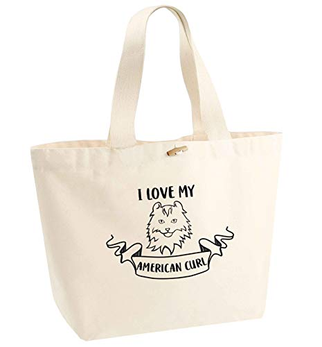 """Flox Creative Tragetasche aus Bio-Baumwolle, mit Aufschrift \""""I Love My American Curl\"""", Beige - natur - Größe: Einheitsgröße"""