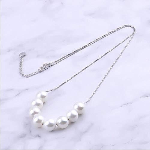 SGJKG Collares de Plata de Ley 925 Concha Redonda Grande con Perlas Colgantes Femeninos para Mujeres Regalos de joyería de Boda