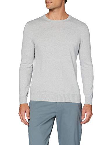 Marchio Amazon - MERAKI Pullover Cotone Uomo Girocollo, Grigio (Light Grey), M, Label: M