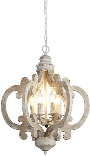 BaiHogi Luz Colgante de Madera Retro y Viejo Chandelier Metal Sling Cadena Colgando Luz de Techo Lámpara Gris Comedor Sala de Estar Lámpara