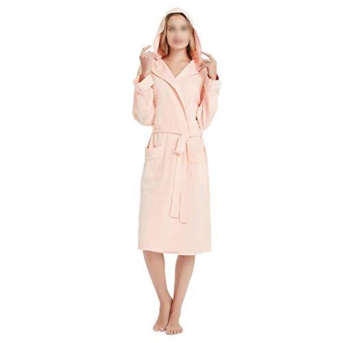 zyy Primavera y otoño Mujeres batuestas más tamaño Simple Tejido algodón con Capucha Albornoz Femenino Fino Manga Larga Albornoz 5XL (Azul, Rosa) (Color : Pink, Size : 4XL)