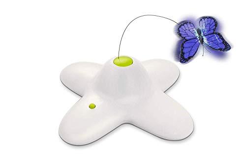 All for Paws Interaktives Katzenspielzeug, Schmetterling mit zwei Ersatz-Schmetterlingen, sich drehendes Spielzeug