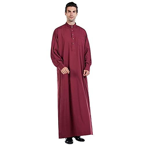 Abiti Musulmani da Uomo Manica Lunga Abito Lungo Abito per Uomo Girocollo da Uomo Manica Lunga Solido Arabo SauditaMusulmano Dubai Robe Vino rossoL