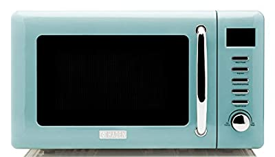 Haden 75031 Cotswold Vintage Retro 0.7 Cubic Foot/20 Liter 800 Watt Countertop Microwave Oven Kitchen Appliance with Turntable, Pull Handle, and 5 Power Levels, Turquoise Blue