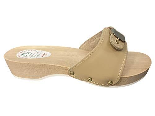 Bocciolo Zueco anatómico de madera para mujer, empeine de piel con cierre de cajón, 3,5 cm, fabricado en Italia, artículo 449 Beige Size: 39 EU