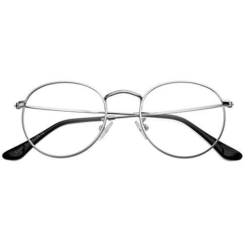 COASION Vintage Round Glasses Non Prescription Clear Lens Metal Frame Circle Eyeglasses (Silver)