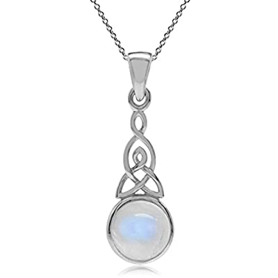 Silvershake Natural Moonstone 925 Sterling Silver Triquetra Celtic Knot Pendant with 18 Inch Chain Necklace