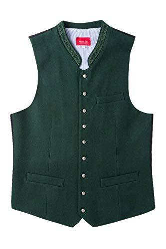 MOSER Trachten Moser Levon 005275 - Chaleco regional (lana, cuello alto), color verde oscuro verde oscuro 58