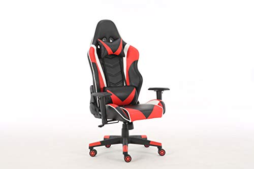 Gaming Chair Racing High Back Office Computer Game Video Chair Ergonomic Backrest and Seat Height Adjustment Recliner Swivel Rocker with Headrest and Lumbar Pillow E-Sports Chair (Red) chair gaming