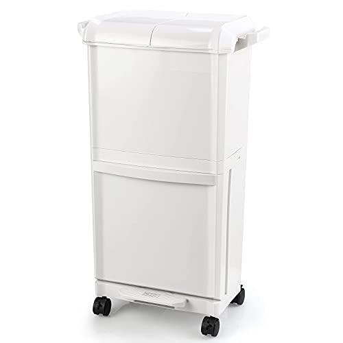Cubo de Basura Doble Botes de Basura Cubo Basura de Reciclaje con Pedal y Tapa para Separación de Residuos de Cocina Blanca Capacidad 40L 36.5x28x73cm