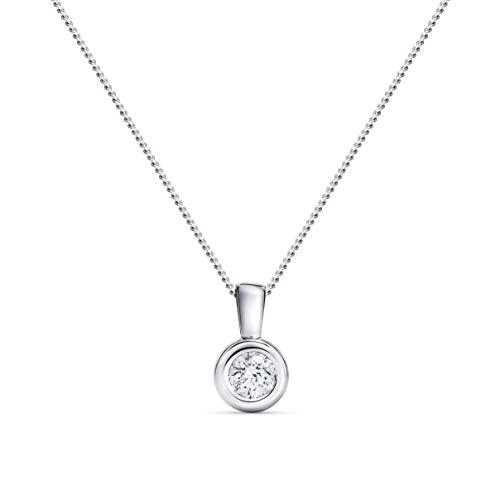 Miore Kette Damen 0.15 Ct Diamant Halskette mit Anhänger Solitär Diamant Brillant Kette aus Weißgold 14 Karat / 585 Gold, Halsschmuck 45 cm lang