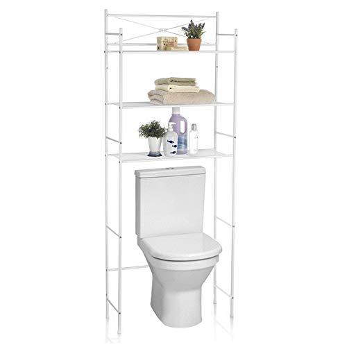 IDIMEX Etagère de Salle de Bain MARSA Meuble de Rangement au-Dessus des Toilettes WC ou Lave-Linge avec 3 tablettes, en métal laqué Blanc