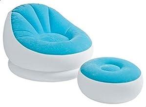 إنتكس – مقعد هوائي مريح بألوان زاهية مع مسند للقدمين – أزرق – (68572 )