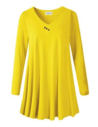 LARACE Women Plus Size Tunic Tops Long Sleeve V Neck Blouse Loose Swing Basic Flowy T Shirt for Leggings, A-Navy02 M Yellow
