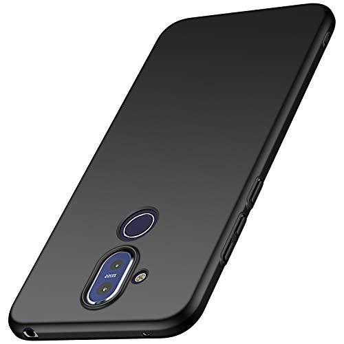 anccer Kompatibel mit Nokia 8.1 Hülle, [Serie Matte] Elastische Schockabsorption & Ultra Thin Design für Nokia 8.1 (Glattes Schwarzes)