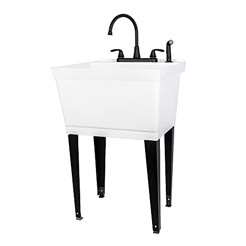 Utility Sink Laundry Tub with Pull Out Duel Setting Faucet by JS Jackson Supplies, Heavy Duty Slop Sinks for Basement, Laundry Room, Garage or Shop, Large Free Standing Wash Station (Black Faucet)