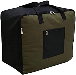 Marine Pearl Tear Resistant Polyster Jumbo Foldable Storage Bag Organizer for Clothes, Extra 20% More Storage Space, Double Zip & Outer Zipper Pocket & Strong Handles (Military Green)