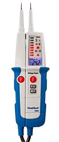 PeakTech 1096 – 2-poliger AC/DC Spannungsprüfer mit Dual Anzeige & FI-Test, Staub- & Wasser Schutz (IP64), LCD-Display + Taschenlampe, Durchgangsprüfer, Polaritätsanzeige, Spannungsmesser 6V - 1000V