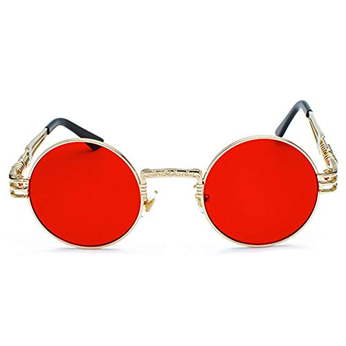 Yangmanini Personalidad Retro Steampunk UV400 Gafas De Sol Marco Redondo Tendencia Marco Dorado Lente Roja Damas Gafas De Sol De Viaje Autodisparador