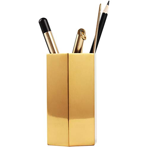 Pencil Cup Holder Desk Organizer,Gold Pen Pot Pen Holder Container Desktop Stationery Organizer Vintage Geometric Table Vases Flower Pot Makeup Brush Holder for Office Home Decor,Hexagonal Prism