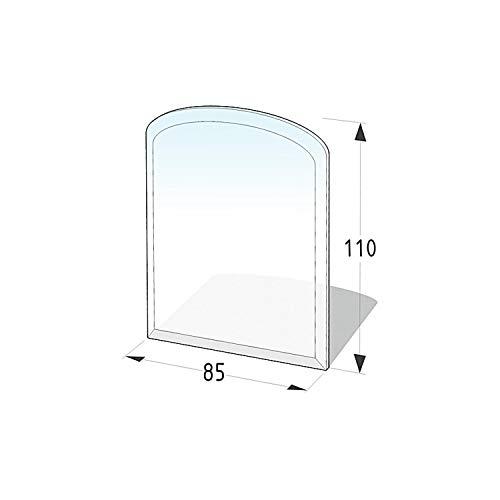 Lienbacher® - 21.02.981.2 - Funkenschutzplatte für Kaminofen - Glasplatte 8 mm (Zunge 2, flach) - mit Facette, klar
