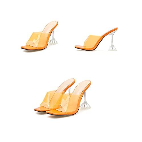 CCSSWW Sandalias al Aire Libre para Vacaciones,Summer Fresco y Transparente Zapatillas de tacón Alto.-Naranja_36,Sandalias de cuña de Piel sintética de Verano para Mujer